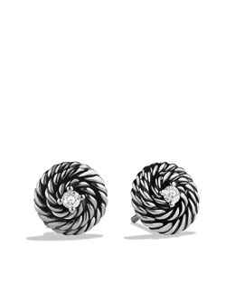 David Yurman Cable Coil Earrings, Diamond, 10mm