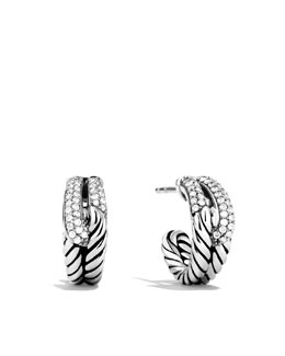 David Yurman Labyrinth Hoop Earrings, Diamonds, 15.2x6.2mm