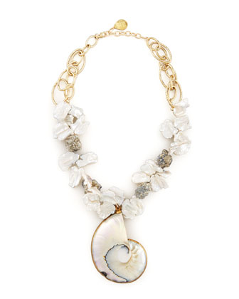 Shell-Pendant Pearl Necklace