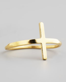 Dogeared Gold Sideways Cross Ring