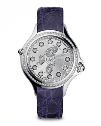 Pave Crazy Carats Topaz & Diamond Watch with Purple Strap