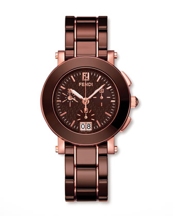 Rose Gold-Plated Ceramic Watch, Brown