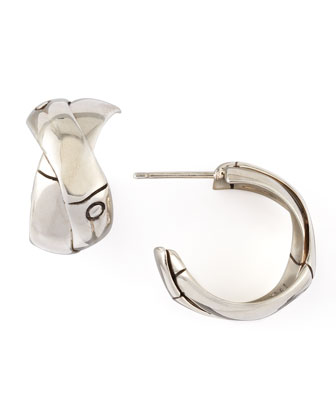Bamboo Silver J-Hoop Earrings