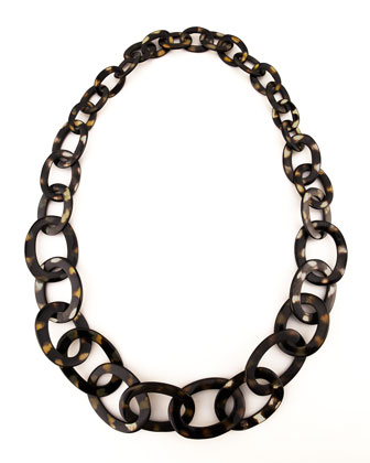 Spotted Horn Link Necklace, Brown