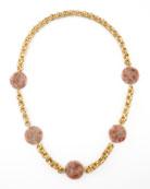 Pink Sunstone Station Necklace
