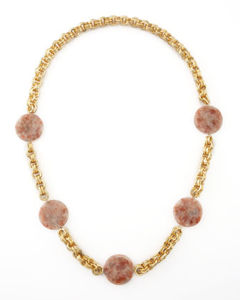Pink Sunstone Station Necklace