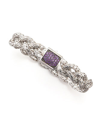 Classic Chain Small Braided Silver Bracelet, Amethyst