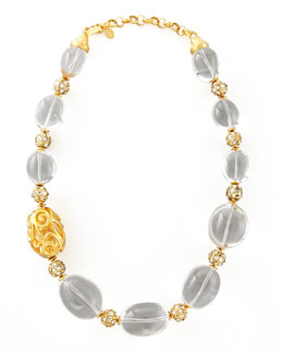 Jose & Maria Barrera Rock Crystal Bead Scroll Necklace