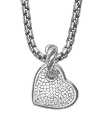 Cable Heart Pendant with Diamonds