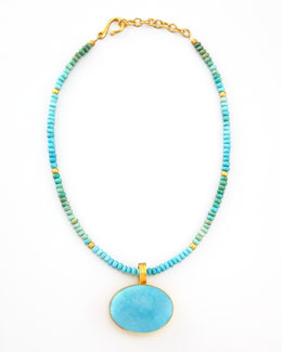 Dina Mackney Beaded Turquoise Pendant Necklace