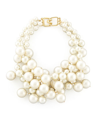 Simulated Pearl Cluster Necklace, Ivory