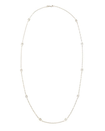 Classic Chain Silver Geometric Link Station Necklace, 36