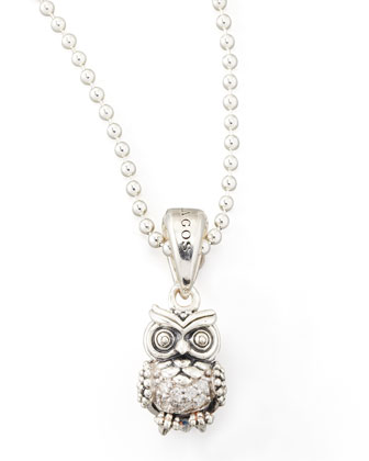 Rare Wonders Diamond Owl Pendant Necklace