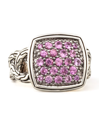 Classic Chain Small Cushion Woven Ring, Pink Sapphire