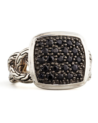 Classic Chain Small Cushion Woven Ring, Black Sapphire