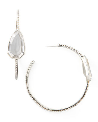 Cathedral Large Silver Hoop Earrings, Rock Crystal
