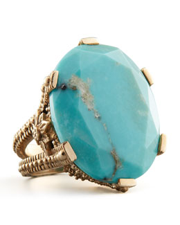Stephen Dweck Oval Turquoise Cocktail Ring