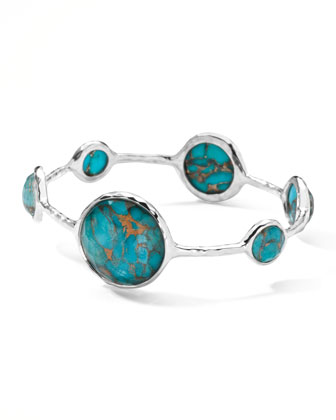 Wonderland Silver Large Lollipop Bangle, Bronze Turquoise
