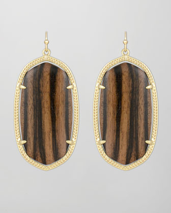 Danielle Earrings, Ebony Wood