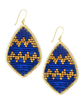 Beaded Teardrop Earrings, Blue