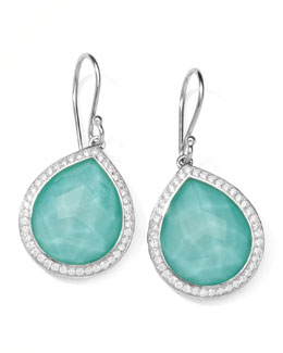"Ippolita Stella Teardrop Earrings in Turquoise Doublet with Diamonds, 1""L"
