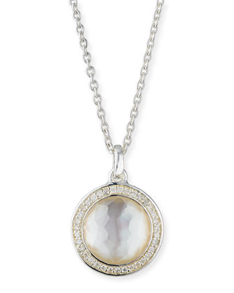 Stella Lollipop Pendant Necklace in Mother-of-Pearl Doublet With Diamonds