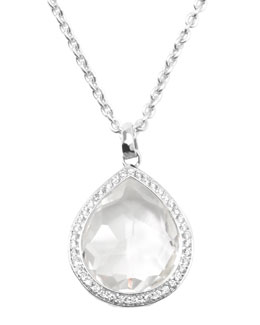 Ippolita Stella Teardrop Pendant Necklace in Clear Quartz with Diamonds