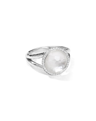 Stella Mini Lollipop Ring in Mother-of-Pearl Doublet with Diamonds, 0.15