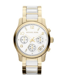Michael Kors   Mid-Size Golden/White Acetate Runway Chronograph Watch