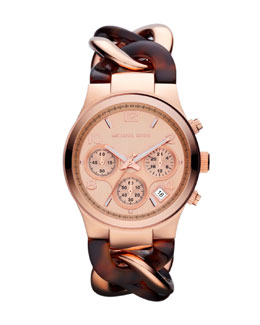Michael Kors  Mid-Size Rose Golden/Horn Acetate Runway Twist Watch
