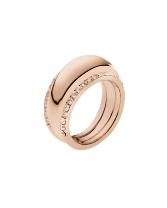 Pave-Insert Ring, Rose Golden