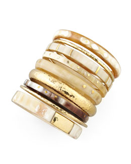 Ashley Pittman Nene Horn & Bronze Bangles, Set of 9