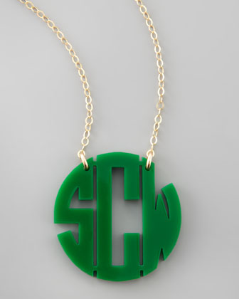 Medium Acrylic Block Monogram Pendant Necklace