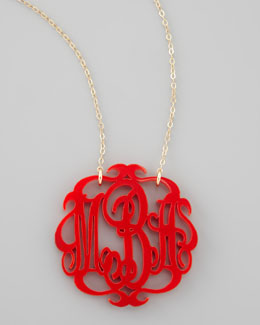 Moon and Lola Large Acrylic Script Monogram Pendant Necklace