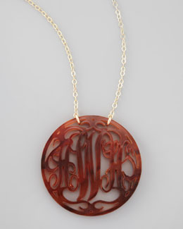 Moon and Lola Large Rimmed Acrylic Script Monogram Pendant Necklace