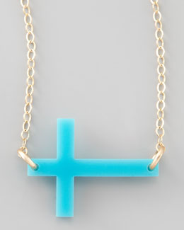 Moon and Lola Acrylic Integrated Cross Necklace