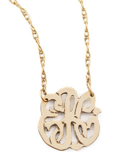Moon and Lola Mini Gold-Fill Script Monogram Pendant Necklace