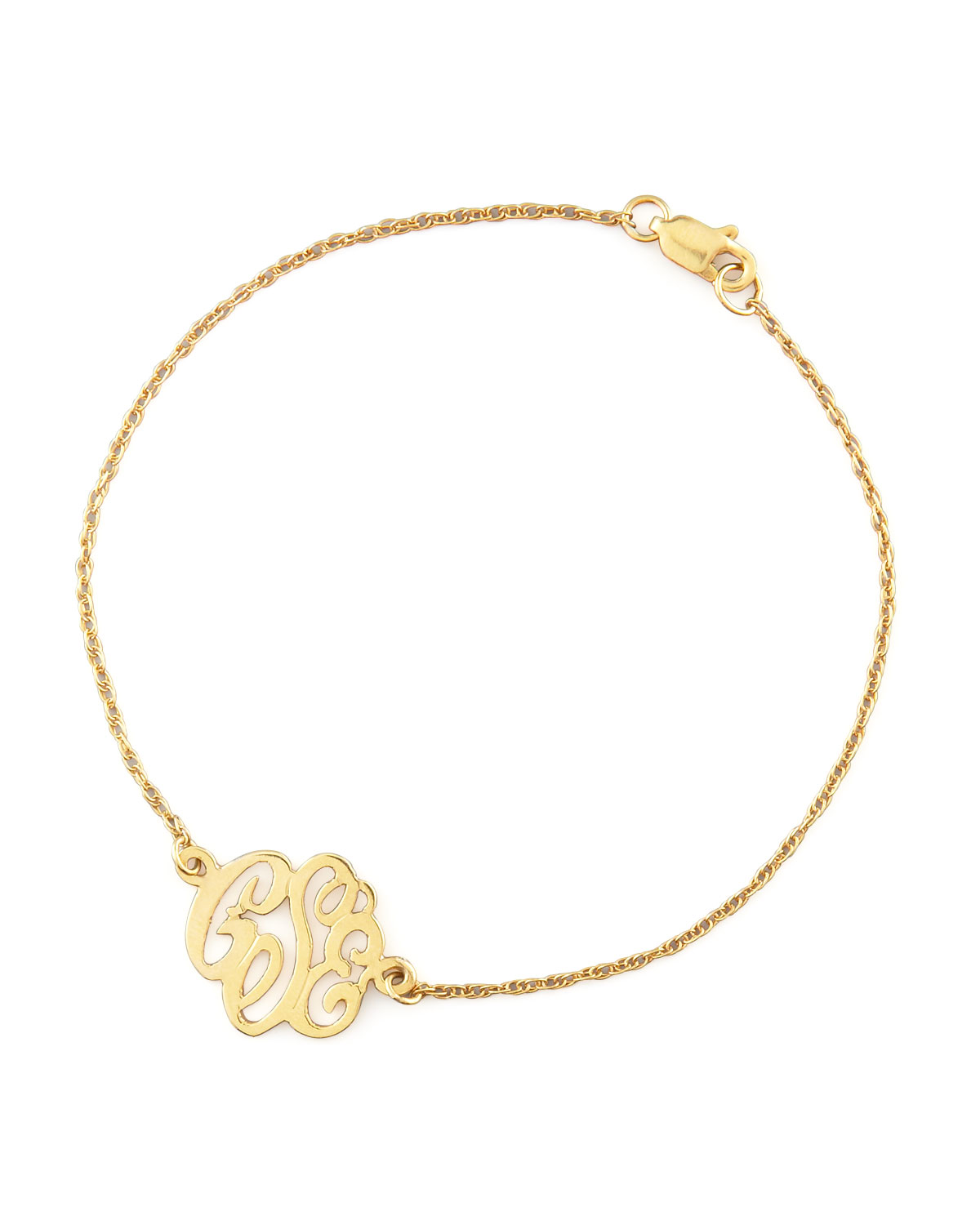 Mini Gold Script Monogram Bracelet - Moon and Lola