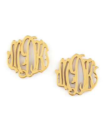 Gold-Fill Script Monogram Stud Earrings