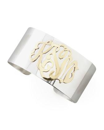 Sterling Silver & Gold Script Monogram Cuff