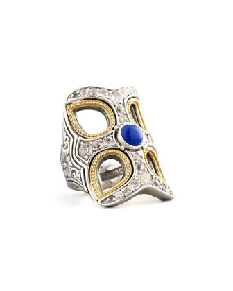 Cutout Cross Lapis Ring