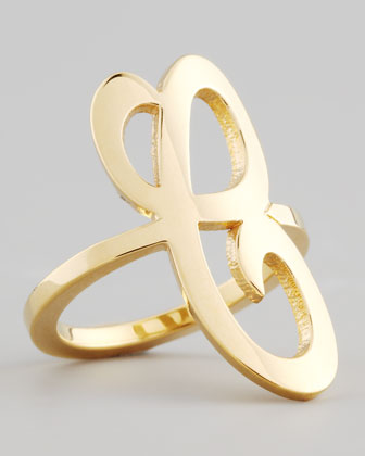 Gold Single Initial Ring