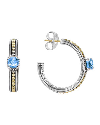 Blue Topaz Prism Hoop Earrings