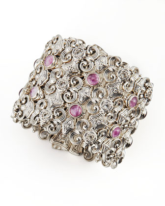 Silver Ruby/Quartz & White Topaz Filigree Cuff