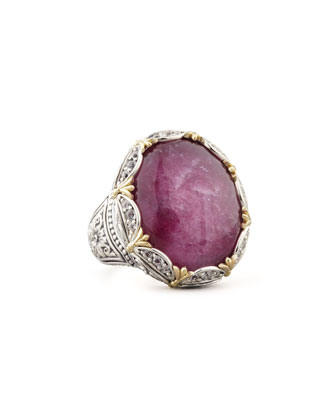 Scalloped Oval Silver & 18k Gold Ruby/Quartz Doublet Ring