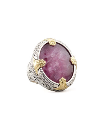 Round Silver & 18k Gold Ruby/Quartz Doublet Ring
