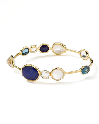 18k Gold Rock Candy Open Gelato Kiss Bangle, Corsica