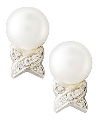 Luna Pearl & Diamond Post Earrings