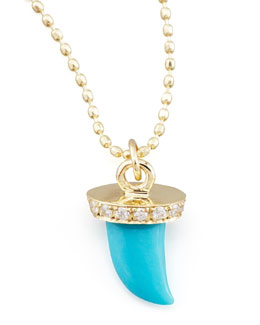 Sydney Evan Small Diamond & Turquoise Horn Necklace