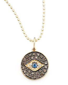 Sydney Evan Small Diamond Evil Eye Medallion Necklace